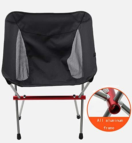 Slakr Chaise de camping portable légère et pliable Chaise de camping portable pliable et robuste avec dossier haut pour pique-nique, plage, randonnée, pêche, Noir