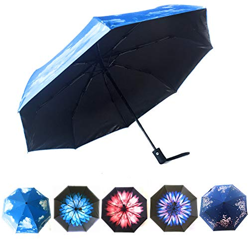 Weatherman Umbrellas for Women Windproof by Hawaiian Sunsets | Sun Umbrella Rain | Blue Skies | Paraguas para Lluvia | Sombrillas de Lluvia | Compact Umbrella Available in Beautiful Designs!