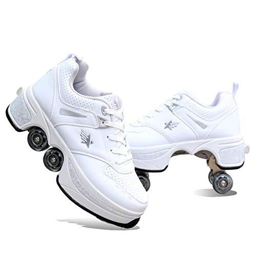 Los Patines Son Adecuados para Zapatos De Varias Funciones De Niñas/Niños, Patines De Rodillos Deformables, Patines Retráctiles, Patines De Doble Fila Al Aire Libre,White-43