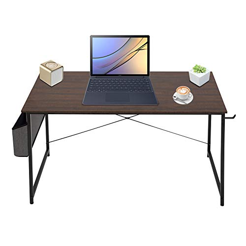 Writing PC Computer Desk 47'' Study Laptop Table Gaming Working Desk with Storage Bag and Headphone Hook for Home Office Workstation, Modern Simple Style, Vintage Brown