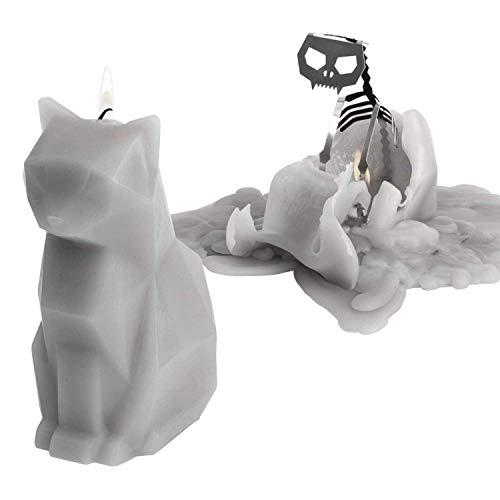 PyroPet KISA | Die besondere Kerze in Form einer Katze | Im Innere der Katzenkerze verbirgt sich ein Skelett und kommt nach dem Herunterbrennen des Wachses zum Vorschein| Ein schönes Geschenk - Grau