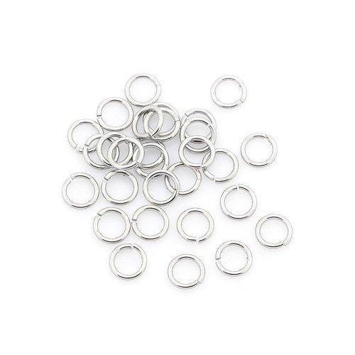 Charming Beads Pacco 110+ Argento Acciaio Inossidabile 1 x 5mm Anellini Aperti - (Y00475)