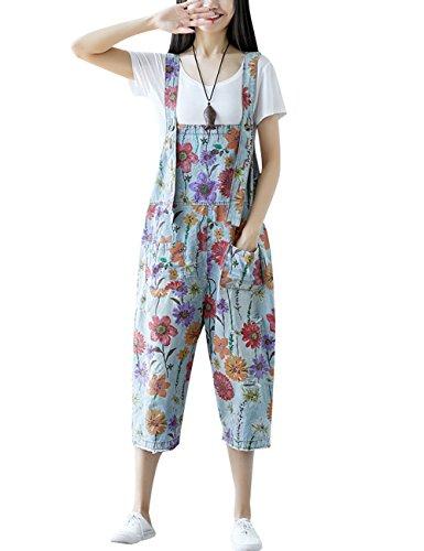 Youlee Damen Sommer Breites Bein Hose Denim Latzhose Overall Hosen Style 26