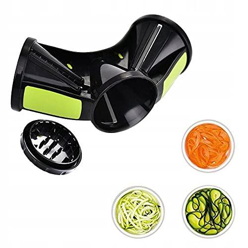 Cortador de verduras manual con 3 cuchillas. Rallador de alimentos en espiral como calabacín, patatas y pepinos. Espiralizador de acero inoxidable.