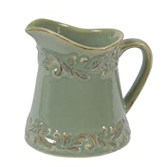 Creamer made of new bone china; very high quality stoneware; elegant and practical for everyday use Scratch resistant glazes provide durability; creamer measures 3-1/4-inch diameter by 3-3/4-inch high Each piece has a unique embossed pattern; hand di...