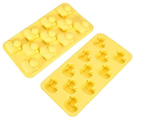 Chocolate Mold Tray Silicone Ice Cube Party maker good for DIY frozen ice, pudding, jelly sweet (Yellow Duck (2 Pack))