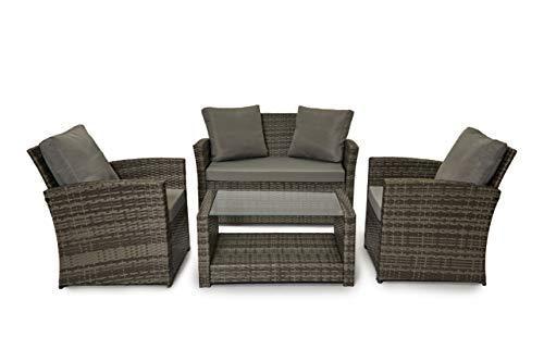 EVRE Rattan Garden Outdoor Furniture Patio Roma Sofa Set (Grey)