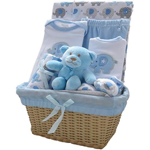 Bee Bo - Cadeau de naissance 0 - 3 mois - peluche éléphant ou chien, body, pantalon, chaussons, bavoir - Bleu