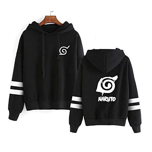 TSHIMEN Herren Klamotten Naruto 2019 japanischer Anime Plus einfarbiges Sweatshirt des Samtstrickjackepullover-Mantels vor und nach doppeltem hölzernem Blattmuster (1pcs) - Schwarzes XL