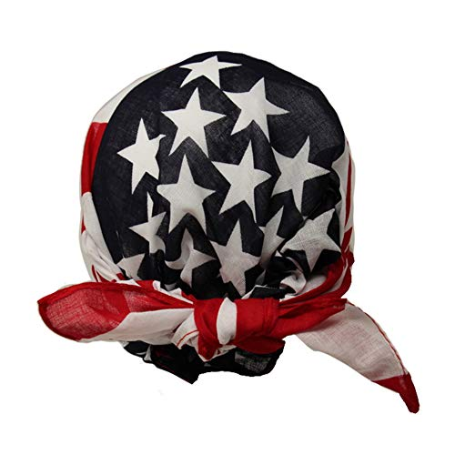 Love Lakeside-Pre-tied Cotton Bandana Head Wrap, Skull Cap, Beanie for Cycling Motorcycle Hiking Sports Fashion Chemo Cap American Flag