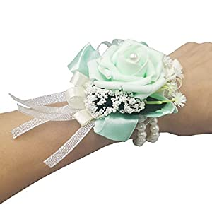 Silk Flower Arrangements MerryJuly Pack of 2 Girl Bridesmaid Wedding Wrist Corsage Party Prom Artificial Foam Flower (Mint Green2 Pieces)
