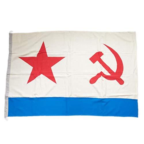 lujiaoshout 3x5 pies Rusia URSS Bandera Navy, vívido Color y la luz UV de la Bandera de impresión Digital Resistente Superior de poliéster con Anillos de Metal para el Desfile de Ajuste de Evento