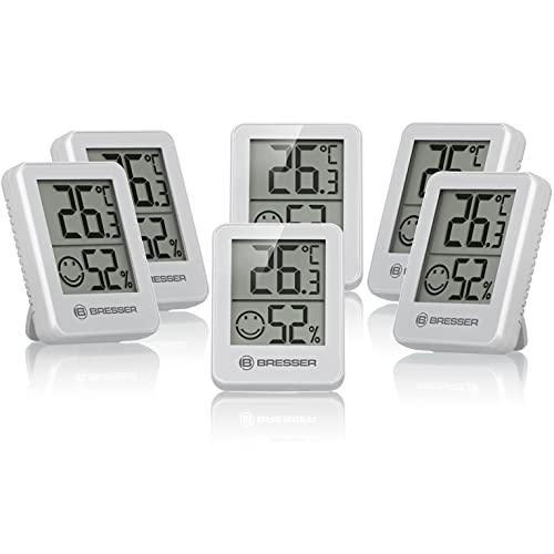 Bresser Thermometer Hygrometer Temeo Hygro Indicator 6er-Set zum Aufstellen oder zur Wandmontage mit Raumklima-Indikator, weiß