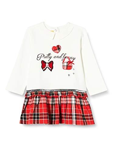 Chicco Baby-Mädchen Abito Manica Lunga Kleid, Rosso E Bianco, 86 cm