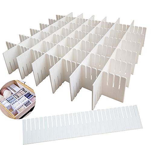 12PCS DIY Plastic Grid Drawer Dividers,White Adjustable Sock Underwear Dresser Drawer Organizers Divider for Stationary Storage