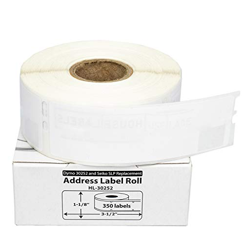 """50 Rolls; 350 Labels per Roll of DYMO-Compatible 30252 Address Labels (1-1/8"""" x 3-1/2"""") -- BPA Free!"""