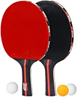2 Table Tennis Rackets Set Solid Wood Ping Pong Paddle Set with 3 Balls