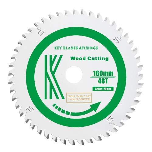 Key Blades cirkelzaagblad en bevestigingen, 160 mm x 20 mm x 2,2 mm, 48 tanden, voor cirkelzagen: Festool, Makita, Dewalt, Bosch, Trend, set met 2 stuks