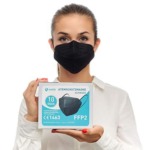 Health2b FFP2 Maske Schwarz CE Zertifiziert [10 Stück] CE1463 Atemschutzmaske Mundschutz, DERMATEST® sehr gut