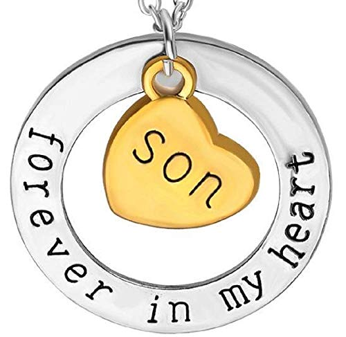 Legisdream Collana Figlio - Mamma - papà con Scritta Nera Forever in My Heart Son - per Sempre nel Mio Cuore Figlio con Due ciondoli Cerchio Argento e Cuore Oro Gioiello Idea Regalo Amore Famiglia