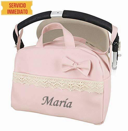 Bolso polipiel carrito bebe. Color rosa. Personalizado con nombre bordado  Danielstore (rosa)