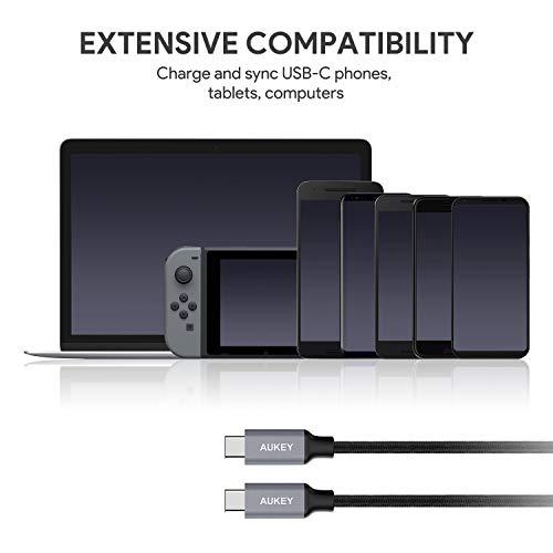 AUKEY USB C Kabel auf USB C 1m Aramidfaser Nylon umgeflochtenes Ladekabel und Datenkabel für Typ C Geräte wie Samsung Galaxy S9 Note 9, Huawei P10, MacBook Air, iPad Pro 2018, MacBook Pro - Schwarz