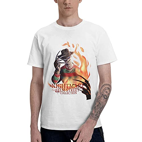 COOTHING A Nightmare On Elm Street Logo Man s Lightweight Casual Printed Basic Crew Neck White Tshirts Apparel