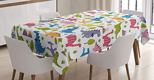 ABAKUHAUS Dino Tafelkleed, Dinosaurs Kleurrijke, Eetkamer Keuken Rechthoekige tafelkleed, 140 x 240 cm, Veelkleurig