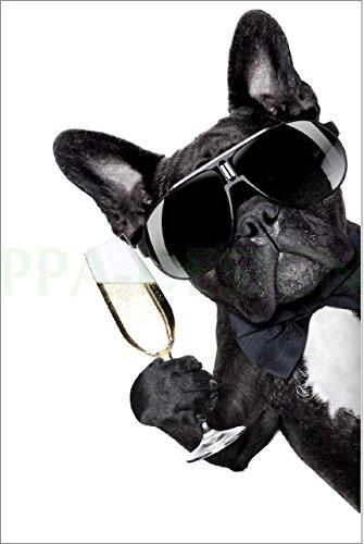 Sticker Frigo Chien Coupe de Champagne- 60x90cm - SF0106 (Fond Blanc)