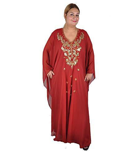 Egypt Bazar Egypt Bazar Abaya Festkleid aus Chiffon, Einheitsgröße: M bis XXXL (Weinrot/Gold)