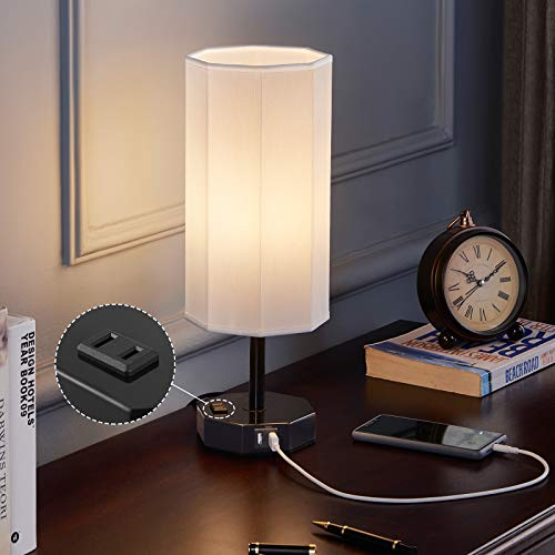 USB Touch Lamp with Outlet, Kakanuo Octagon Touch Bedside Table Lamp, Oyster White 3 Way Dimmable Nightstand Lamp for Bedroom and Living Room (LED Bulb Included)