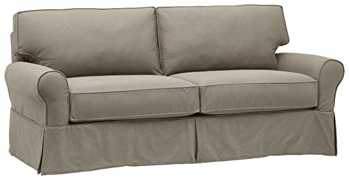 """Stone & Beam Carrigan Modern Sofa Couch with Slipcover, 88.5""""W, Grey Taupe"""