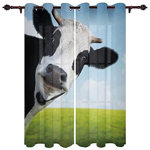 QWFDAQ Cortinas Opacas Vaca Animal Blanco y Negro Verde Azul 3D,Cortinas Opacas...