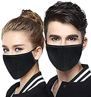 Fashiol Dust Masks Breathable Reusable for Outdoor Sport Half Face Ear loop Mask Dust Cotton Masks Free Size Pack of 2 Black colour