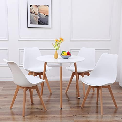 DORAFAIR Pack de 4 Sillas & Mesa, Juego de sillas de Comedor,Comedor de diseño nórdico, Color Blanco