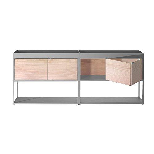 New Order Regal/Sideboard 200x79.5cm, hellgrau esche mit 2 Holztüren