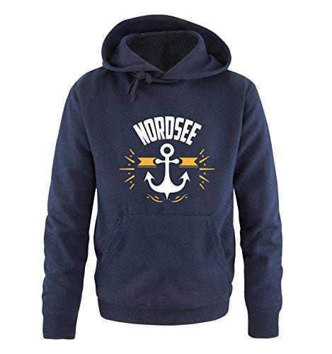 Comedy Shirts - NORDSEE - Anker - Herren Hoodie - Navy/Weiss-Gelb Gr. XXL