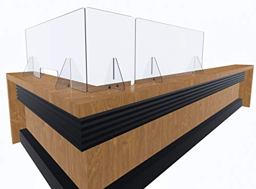 Acrylic Plexiglass Sneeze Guard Shield - Thick, Sturdy Clear Guard - Many Size Options 60', 48', 32', 24', 16', 12' for Complete Personalized Counter and Desk Divider Enclosure Set (60' W/Opening)