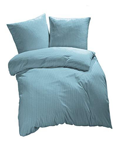 etérea Microfaser Seersucker Uni Bettwäsche 135x200 cm + 80x80 cm - Bettwäsche Set aus Bettbezug und Kopfkissenbezug mit Reißverschluss, 2 teilige Bettwäsche in Hellblau