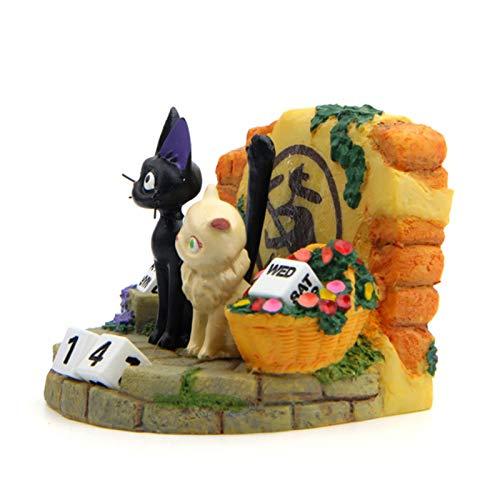 Mirabellinifred Zement Perpetual Kalender Ornamente, Paar Katze Handgefertigte Holz Datum Blöcke Harz Puppe Desktop-Dekor, Spaß Geschenk Für Erwachsene, Kinder, Jungen, Mädchen, Ihn & Sie