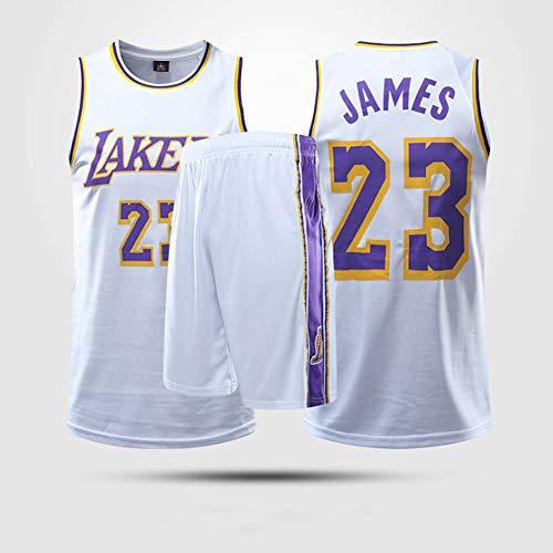 HS-XP Niños Adultos NBA Los Angeles Lakers # 23 Lebron James Jersey, Camiseta Deportiva Sin Mangas De Baloncesto, Conjunto De Uniforme De Ventilador De Tela Transpirable,Blanco,XL(Adult) 165~170CM
