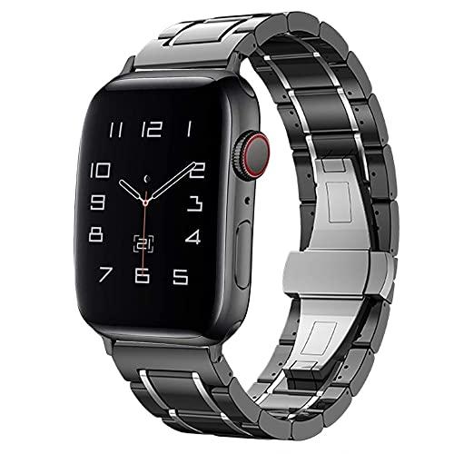 Correa de cerámica para Apple Watch 5, 4, 40 mm, 44 mm, 38 mm, 42 mm, correa para reloj Iwatch 3, 2, 1, correa de lujo Pulseira (color de la correa: negro, plata, ancho de la correa: 44 mm)