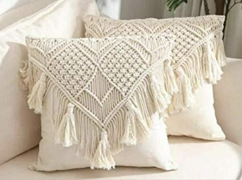 Crafting with Love - Funda de cojín hecha a mano, diseño de la casa de macramé, 45,72 x 45,72 cm, para sofá, sala de estar, coche, dormitorio, hogar, color blanco