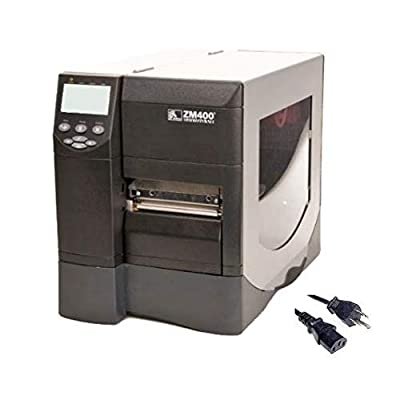 Zebra ZM400 Industrial Barcode Label Printer | Thermal Transfer & Direct | 4-Inch, 203dpi, USB and Ethernet Interfaces, Power Cable (Renewed)