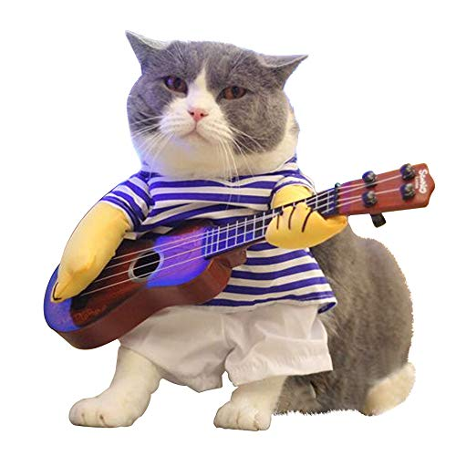 LUCKSTAR Pet Guitar Costume - Dog Costume Funny Cat Clothes Dogs Cats Super Funny Crazy Guitarist Style Pet Clothes Best Gift for Halloween Christmas Birthday Cosplay Party Weekend Parties (M)