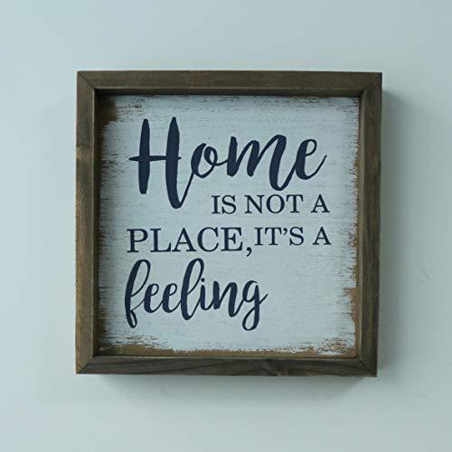 CVHOMEDECO. Marco rústico envejecido Home is not a Place, It's a Feeling Shadow Box para colgar en la pared, 9-3/4 x 9-3/4 pulgadas