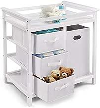 Costzon Baby Changing Table Basket Hamper Infant Diaper Nursery Station (White)