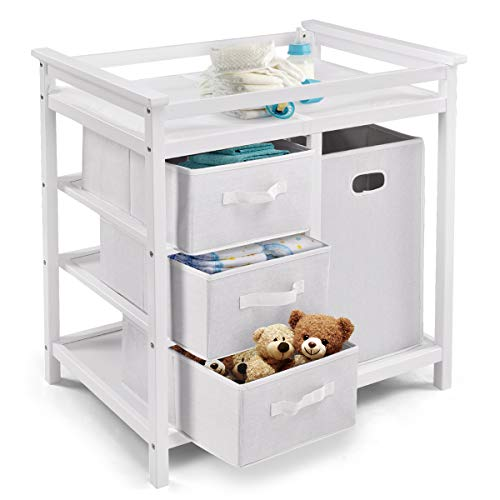 Costzon Baby Changing Table Basket Hamper Infant Diaper Nursery Station (White)