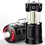 Ezorkas 2 pack camping lanterns, rechargeable led lanterns, hurricane lights with flashlight and magnet base for camping… 7 super bright & large area brightness. The latest cob bulbs offer ultra-bright lights. 360 degree coverage lighting provide high visibility to meet large area brightness. 4 lighting modes. Collapsible cob led lantern. Flashlight. Red warning light(strobe & sos light). Ezorkas led camping lantern is a vital filed survival tool and camping accessories. Rechargeable & long-lasting. It is a rechargeable camping lantern and also powered by battery. There is a built-in 18650 battery , so you can recharge the lantern via usb charging cable. You can also place 3*aa batteries (not included) to use it. By using these two ways of battery supplying, never let you be left in a sudden darkness. Durable & water-resistant. Compact lamp body prevents it being damaged from collision. The rechargeable lantern is water-resistant due to its abs military material and cob bulb. The camping lamp can adapt to all kinds of severe hurricane and rainstorm weather. Perfect camping light for your indoor or outdoor activities.