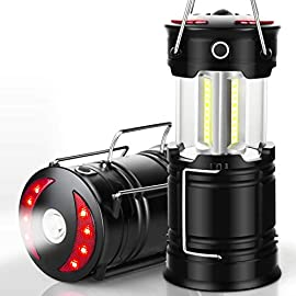 EZORKAS 2 Pack Camping Lanterns, Rechargeable Led Lanterns, Hurricane Lights with Flashlight and Magnet Base for Camping… 2 Super Bright & Large Area Brightness. The latest COB bulbs offer ultra-bright lights.360 degree coverage lighting provide high visibility to meet large area brightness. 4 lighting modes.Collapsible COB LED Lantern.Flashlight. Red Warning Light(Strobe & SOS light). EZORKAS led camping lantern is a vital filed survival tool and camping accessories. Rechargeable & Long-lasting. It is a rechargeable camping lantern and also powered by battery. There is a built-in 18650 battery , so you can recharge the lantern via USB charging cable. You can also place 3*AA batteries (not included) to use it. By using these two ways of battery supplying, never let you be left in a sudden darkness. Durable & Water-resistant. Compact lamp body prevents it being damaged from collision. The rechargeable lantern is water-resistant due to its ABS military material and COB bulb. The Camping lamp can adapt to all kinds of severe hurricane and rainstorm weather. Perfect camping light for your indoor or outdoor activities.